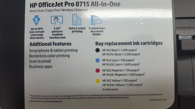 Impressora Multifuncional Hp Officejet Profissional 8715 Com Wi-Fi / 4 Em 1 Bivolt - Preta - Foto 5