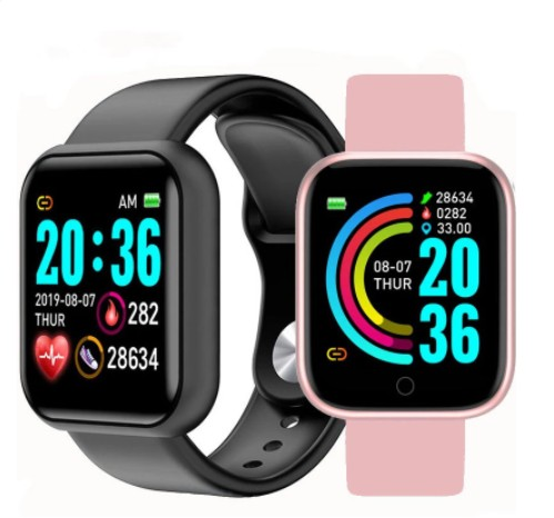 Smart Watch Y68 importado IOS e android - cores preto, branco e rosa