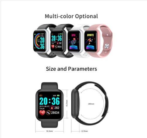 Smart Watch Y68 importado IOS e android - cores preto, branco e rosa - Foto 3