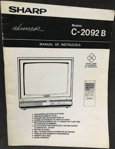 Manual Antigo TV e Videocassete Sharp: VC-1094B, C-2092B e C2999G - Foto 2
