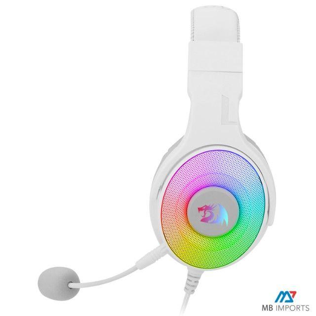 Fone Headset Redragon Pandora Branco RGB 7.1 Novo Lacrado Com garantia