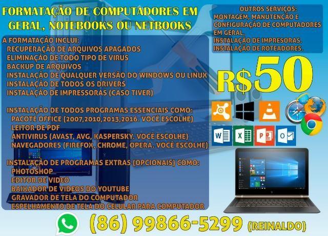Formatação De Computadores Em Geral, Notebooks Ou Netbooks