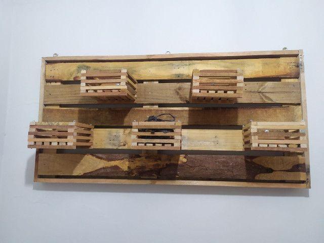 Cachepot de madeira - casinhas - vasos