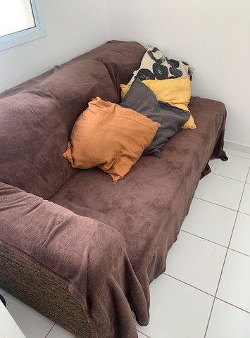 sofá-cama com chaise, usado