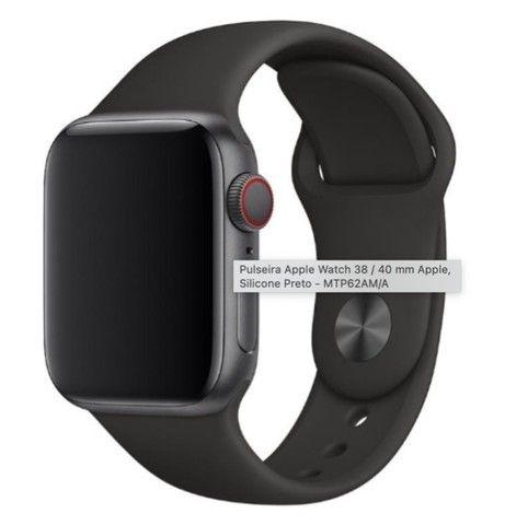 Pulseira Apple Watch 38 / 40 mm Apple, Silicone Preto - Original