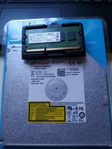 Memória RAM 4Gb + Leitor de CD e DVD interno para notebook
