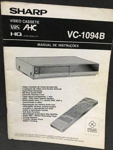 Manual Antigo TV e Videocassete Sharp: VC-1094B, C-2092B e C2999G - Foto 3