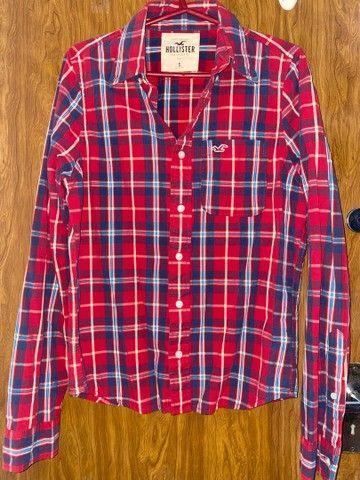 Camisa xadrez vermelha Hollister feminina P/M