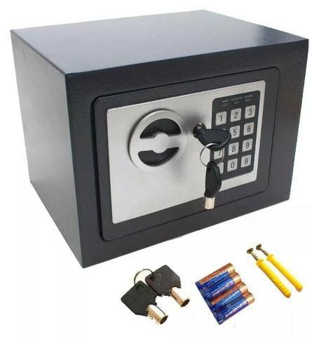 (NOVO) Cofre Eletrônico Digital Senha 23x17x17cm Chave Aço Segredo