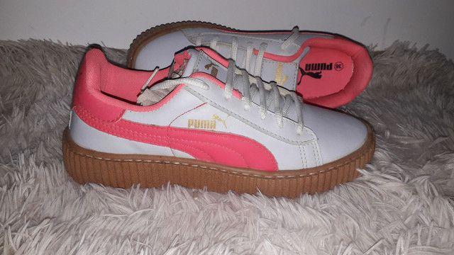9 8 6 0 0 - 1 0 2 1 * Tênis puma novo na caixa cor branco e rosa