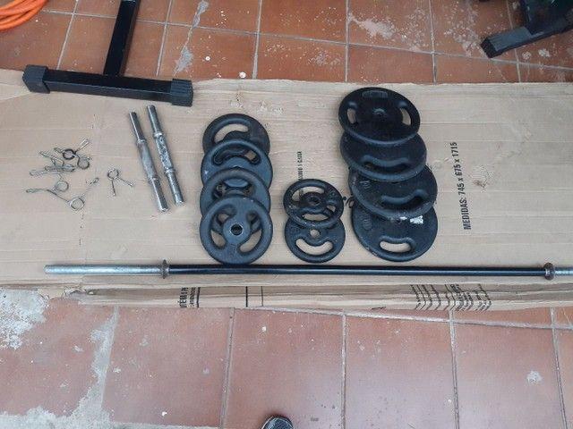 Kit musculação academia anilhas e barras - Foto 2