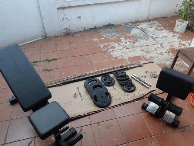 Kit musculação academia anilhas e barras - Foto 4