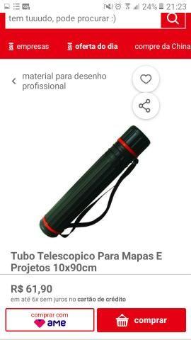 Tubo telescopico para mapas e projetos