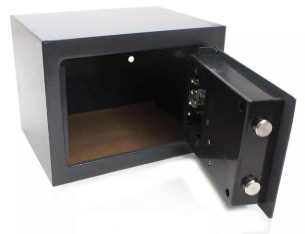 (NOVO) Cofre Eletrônico Digital Senha 23x17x17cm Chave Aço Segredo - Foto 2