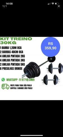 Kit 30kg Anilhas mais Barras apenas R$ 359,90, treino, musculação, academia, halteres