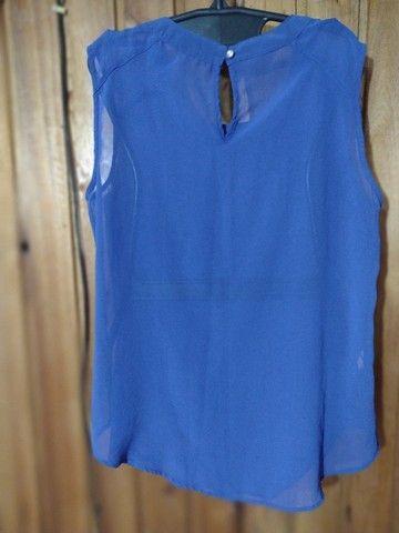 947 - Blusa regata azul feminina - Tam G - Foto 2