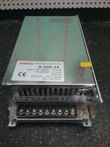 Fonte 24VDC 500W 20,8A chaveada aramada ( novo com garantia )