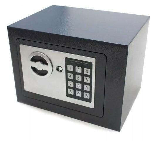 (NOVO) Cofre Eletrônico Digital Senha 23x17x17cm Chave Aço Segredo - Foto 3