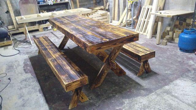 Mesa de jantar rústica Pallet - Foto 4