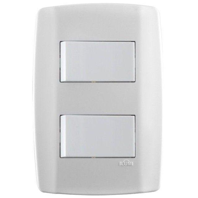 Interruptor Simples Duplo Branco 4x2 10a 250v 8018 Slim