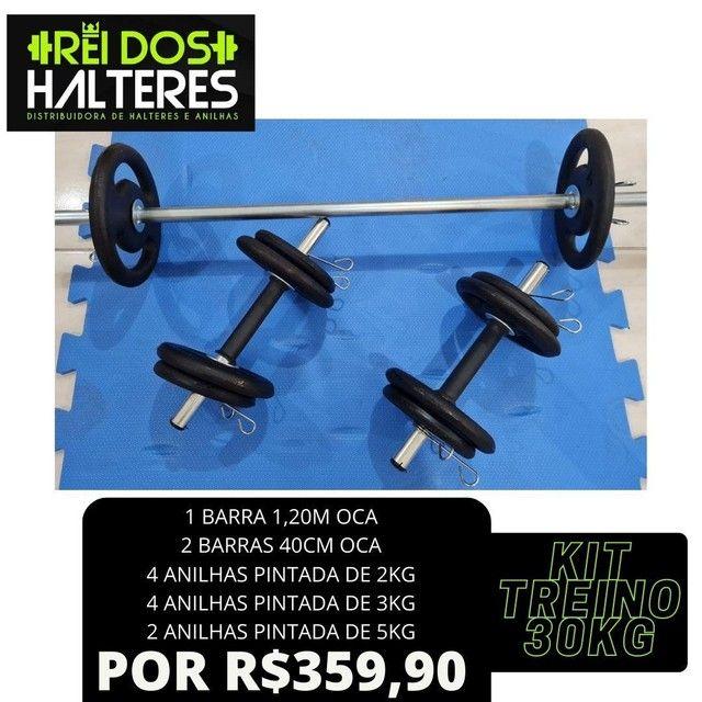 Kit 30Kg Anilhas de Ferro Mais Barras R$ 359,90, treino, halteres, peso, musculação