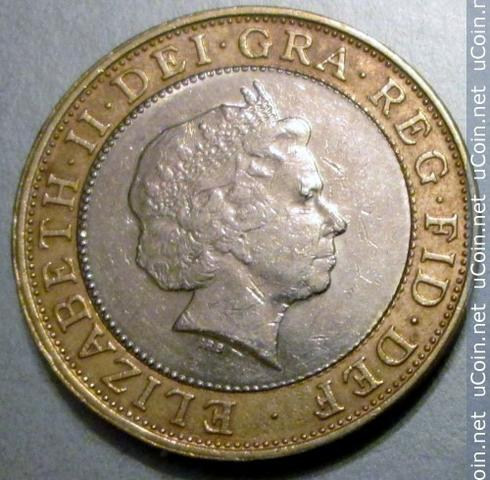 Moeda Bimetálica - Inglaterra - Two Pounds