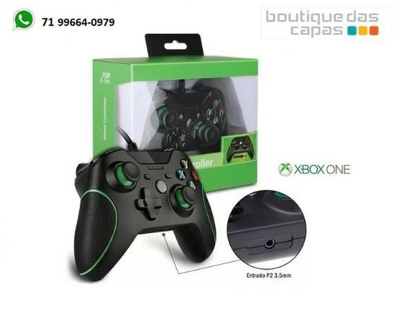 Controle Xbox One Com Fio Usb Joystick Pc Entrada P2 3 5mm