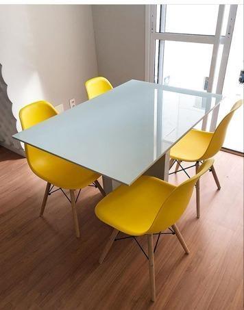 4da436b6d Mesa Mila 1.20x0.80 com 4 cadeiras Charles Eames Várias Cores ...