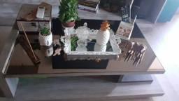 Mesa de centro madeira maciça com espelho