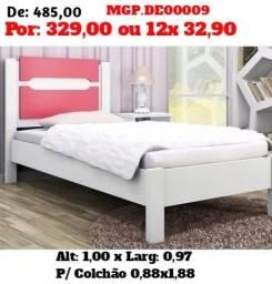 Cama de Solteiro- Cama Branco e Rosa - Cama  - Liquida MS