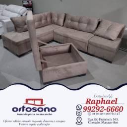 Título do anúncio: # Sofa sofa de canto - com chaise - entrega gratis