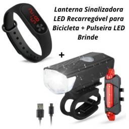 Kit Lanterna de Bike Led Recarregável lanterna traseira 4 modos de uso  + Brinde