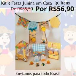 Kit Festa Junina em Casa 30 Lembrancinhas Personalizadas