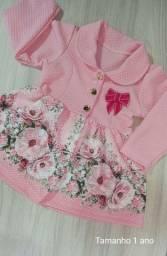 Vestido rosa Luxo bebê - tamanho 1 ano