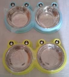Kit 2 comedouro e bebedouro duplo cuba inox para cão e gato