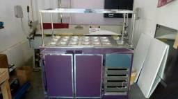 Balcão para açai, sorveteria e guloseimas, saladas, cubas refrigeradas, sushi