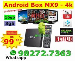 MX9-TvBox Android 8.1/Já Configurado 16gb/3gb