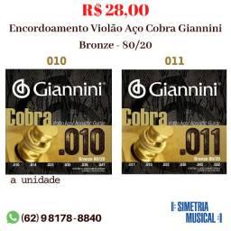 Encordoamento - Cordas Violão Aço Cobra Giannini Bronze 80/20 (010 ou 011) comprar usado  Aparecida de Goiânia