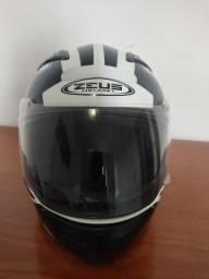 Capacete zeus 813 an6 branco/preto com viseira interna