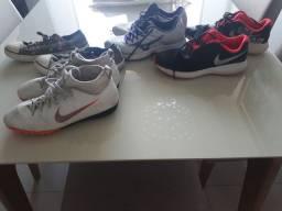 Vendo 3 tênis  e 1 chuteira todos originais tamanho 36,, nike , Mizuno,valor R$ 200.