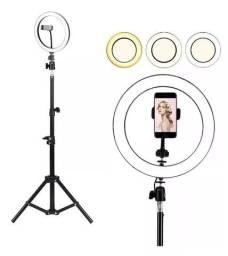(NOVO) Ring Light Completo Iluminador Portátil 26cm + Tripé