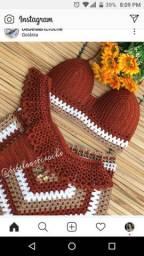 Conjunto blogueira de crochê