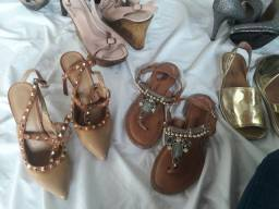 Lote mais de 100 pares d calçados do tam. 34 ao 39 bom p/ brechó