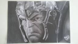 Desenho feito a lapis, hulk