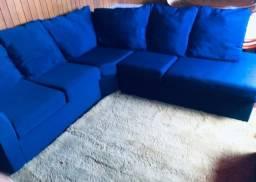 Sofá De Canto Azul / Dimensões : 2,40 m x 2,20 m / Com Puff 0,80  x 0,80 Cm