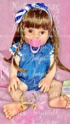Boneca bebê reborn Cabeluda
