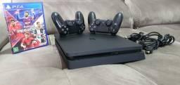 PS4 Slim - 1 Jogo - 2 Controles originais - Lacrado nunca aberto para assistência