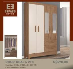 Título do anúncio: Guarda Roupas 4 Portas com Espelho #Entrega e Montagem Grátis