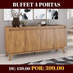 Ofertão! Buffet Sala de Jantar 4 Portas Veneza Imbuia NOVO!