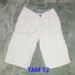 Bermuda menino branca Tam 12